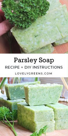 Use garden-fresh or shop-bought herbs for this parsley soap recipe. An easy, safe, and quick recipe that results in naturally green soap soap recipes Parsley Soap Recipe: how to naturally make green soap Soap Making Recipes, Homemade Soap Recipes, Homemade Soap Bars, Herbal Remedies, Natural Remedies, Natural Treatments, Cold Remedies, Health Remedies, Green Soap