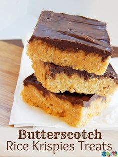 Anyone want to make these and invite me over? Butterscotch Rice Krispies Treats -
