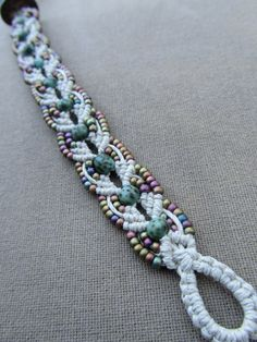 Hemp Macrame Bracelet with Glass and by PerpetualSunshine111, $26.00