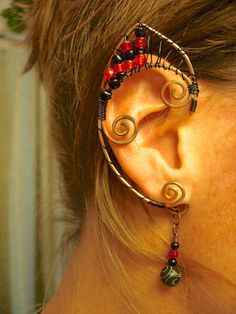 Pair of Copper Fire Fairy Inspired Elf Ear Cuffs with Black and Red Accents Renaissance, Elven