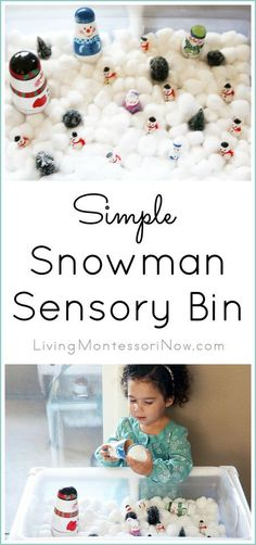 This easy-to-prepare snowman sensory bin is a fun way for toddlers and preschoolers to work on essential skills during the holidays or anytime in the winter; post includes links to materials, DIY sensory table, and a Montessori-inspired snowman math activity prepared using a free printable.