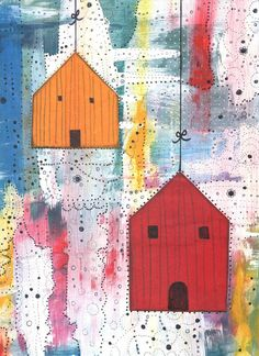 Modern Art Print , Birdhouse Painting , Mixed Media Collage Art Reproduction , Whimsical Art , 5x7
