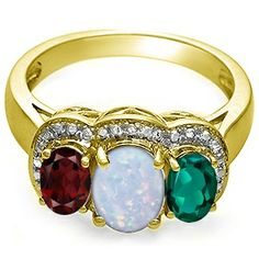 Kay - Lab-Created Opal Three Stone Ring Yellow Gold
