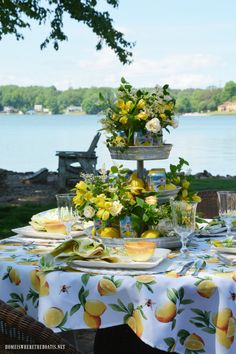 Lakeside Limonata Table and Sparkling Cans of Flowers Lakeside Limonata Table and Sparkling Cans of Flowers Deborah Hunt tinkerbellish A Lovely Tablescape Lakeside Limonata and &;Welcome Summer&; Table […] decoration for home summer Outdoor Table Settings, Outdoor Dining, Lemon Party, Al Fresco Dining, Mellow Yellow, Outdoor Entertaining, Memorial Day, Tablescapes, Flowers