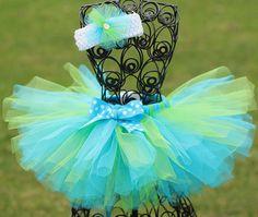 Girls Tutu Skirt, Tulle Tutu Skirt, Birthday Tutu, Easter Tutu with Matching Hair Accessory- Apple Green, Turquoise Blue, White