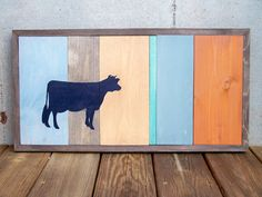 Reclaimed Wood Color Block Cow Painting