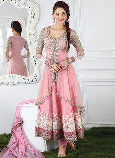 Buy Pink Net Layered Anarkali online from the wide collection of Salwar Kameez.  This Pink  colored Salwar Kameez in Net  fabric goes well with any occasion. Shop online Designer Salwar Kameez from cbazaar at the lowest price.