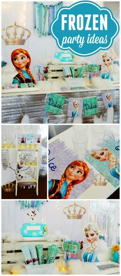 A Frozen girl birthday party with fantastic party decorations, cake and treats! See more party planning ideas at CatchMyParty.com!