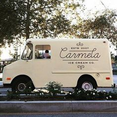 Logo design food truck script @carmelaicecream