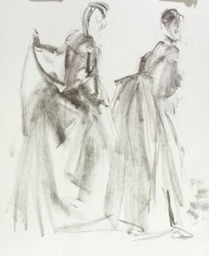 """COSTUME GESTURE STUDIES  Drawing, Charcoal on Paper, 24.0""""h x 18.0""""w"""