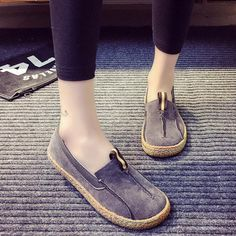 61fbf1929 Stitching Pure Color Slip On Lazy Casual Suede Shoes