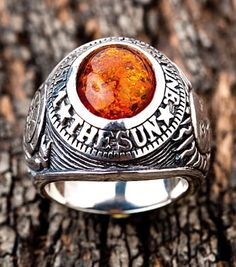 Lucky Amber Ring w Wheel of Fortune and The Sun around an amber stone