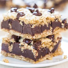 Fudgy Oatmeal Chocolate Chip Bars