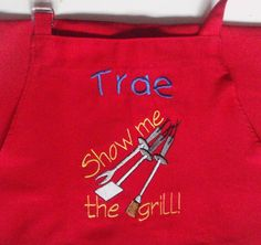 """Baking Apron - """"Show Me The Grill"""" - Cooking Apron - Restaurant Personalized Z"""