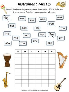 Music Instruments Mix Up puzzles for your music class.  ♫  CLICK through to preview or repin for later!!  ♫