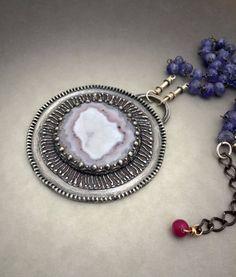 Laguna Agate Sterling Silver Pendant Necklace by vaasvara on Etsy