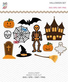 Halloween Set Svg Hat, Skeleton, Castle witch, Pumpkin, Spider, Skull, Ghost SVG DXF EPS png Cricut Design, Silhouette studio, Sure Cuts Lot by SvgCutArt on Etsy