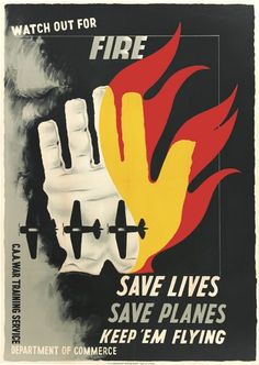 EDWARD MCKNIGHT KAUFFER (1890-1954). WATCH OUT FOR FIRE. 1943. 44x31 inches, 112x78 cm. U.S. Government Printing Office, [Washington, D