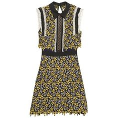 Self-portrait Eleina daisy-lace dress ($395) ❤ liked on Polyvore featuring dresses, yellow multi, see through dress, yellow dress, sheer mini dress, brown dress and mini dress