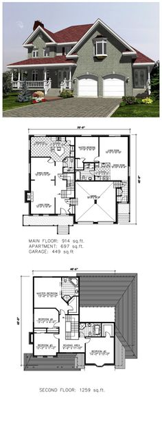 COOL House Plan ID: chp-53152 | Total living area: 2870 sq ft, 4 bedrooms & 2.5 bathrooms. #inlawsuite #houseplan