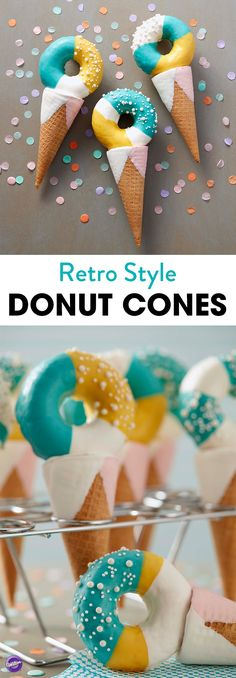 Tasty homemade donuts top these candy-dipped sugar cones, treats that are great for birthdays or special summer celebrations. Further customize these treats by using your favorite Candy Melts candy colors to decorate these doughnuts. Donut Cupcakes, Doughnut Cake, Cupcake Cakes, Homemade Donuts, Homemade Ice, Baked Donuts, Doughnuts, Delicious Donuts, Dessert Cups