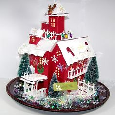 Christmas house made with the Haunted House Cricut cartridge. WOW