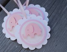 Pink Elephant Thank You Favour Tags - Baby Girl - Shower/Birthday Party. $18.00, via Etsy.