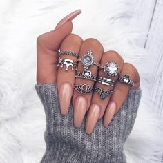 Most Sexy and Trendy Prom and Wedding Acrylic Nails and Matte Nails for this Season - Amately Grey Nail Designs, Elegant Nail Designs, Elegant Nails, Classy Nails, Acrylic Nail Designs, Trendy Nails, Simple Nails, Art Designs, Design Art