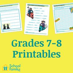 Middle school worksheets and activities designed for kids in grade 7 and grade 8.