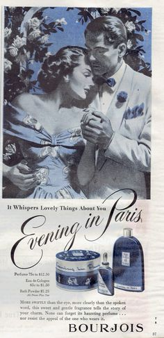 Evening In Paris Bourjois Perfume and Cosmetic Ad featuring a Couple in the Moonlight - True Romance, August 1948