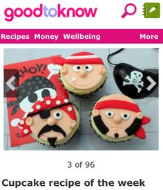 Pirate cupcakes how to Pirate Birthday, Pirate Theme, Cupcake Toppers, Cupcake Cakes, Rose Cupcake, Pirate Cupcake, Pirate Cakes, Cupcake Recipes, Dessert Recipes