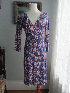 ANN TAYLOR Multi-color Floral Print Rayon Blend Faux Wrap Dress Size 4 #AnnTaylor #WrapDress #WeartoWork