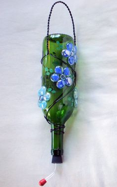 Wine Bottle Hummingbird Feeder