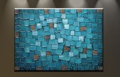 Amazon.com - Oil Painting Abstract Modern Contemporary Art on Canvas Wall Decor Blue Squares -