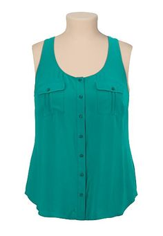 sleeveless button front plus size blouse (original price, $29) available at #Maurices