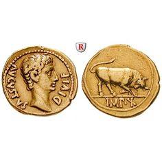 Römische Kaiserzeit, Augustus, Aureus 15-13 v.Chr., ss+: Augustus 27 v.-14 n.Chr. Aureus 20 mm 15-13 v.Chr. Lyon. Kopf r. AVGVSTVS… #coins
