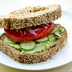 beat the heat sandwich: edamame hummus, tomatoes, cukes and just a touch of onion.