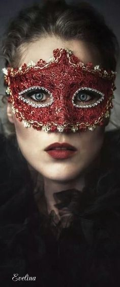 Woman wearing a red mask Maskerade Outfit, Red Mask, Beautiful Mask, Beautiful Things, Carnival Masks, Venetian Masks, Venetian Masquerade, Masquerade Party, Masquerade Masks
