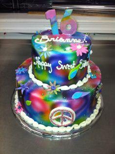 Sweet sixteen, tye dye cake.
