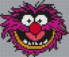 Animal From The Muppets (square) Perler Bead Pattern / Bead Sprite Pearler Bead Patterns, Kandi Patterns, Perler Patterns, Beading Patterns, Perler Bead Art, Perler Beads, Cross Stitch Designs, Cross Stitch Patterns, Modele Pixel Art