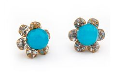 Turquoise and Crystal stud earring