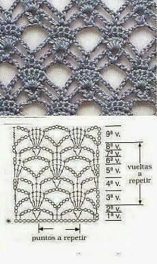 New Crochet Stitches Diagram Lace Patterns Ideas Crochet Motifs, Crochet Diagram, Crochet Stitches Patterns, Crochet Chart, Lace Patterns, Free Crochet, Stitch Patterns, Knit Crochet, Knitting Patterns