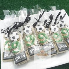 We had fun over the weekend styling Dylan's Soccer themed party? check out his mini cookie packs? all graphics designed by Soccer Birthday Parties, Football Birthday, 10th Birthday, Birthday Party Themes, Soccer Party Themes, Sports Party Favors, Soccer Cookies, Soccer Snacks, Soccer Treats