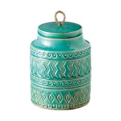 If a deep aqua canister would make your kitchen counter come to life, the Medium Pattern Play Container is just the ticket. With its rows of pattern, this container will add texture to a room. The love...  Find the Medium Pattern Play Container, as seen in the Best of Boho Sale Collection at http://dotandbo.com/collections/black-friday-style-sale-boho?utm_source=pinterest&utm_medium=organic&db_sku=101505
