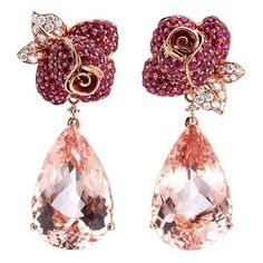 Anyallerie Rose' diamond morganite ruby 18k rose gold mismatched... (19 040 AUD) ❤ liked on Polyvore featuring jewelry, earrings, metallic, rose flower earrings, ruby flower earrings, rose gold diamond earrings, rose gold earrings and diamond jewelry