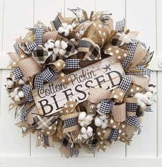 Cotton Pickin Blessed Wreath, Burlap Wreath, Farmhouse Wreath, Cotton Easter Wreath, All Occasion Wr - Cotton Diy Wreath Boxes, Diy Wreath, Wreath Burlap, Tulle Wreath, Wreath Ideas, Stick Wreath, Easter Wreaths, Holiday Wreaths, Country Wreaths