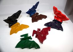 4 3D Recycled Bat Crayons  halloween trick or by WizardAtWork, $12.00