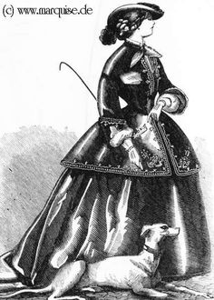 Ladies' fashion of the Victorian era in contemporary fashion plates 1800s Clothing, Historical Clothing, 1850s Fashion, Riding Habit, Sewing Clothes Women, Side Saddle, Civil War Dress, Riding Jacket, 19th Century Fashion