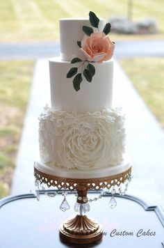 Opulent Treasures Chandelier Ball Base Round Cakes White (set of : Pasteles Floral Wedding Cakes, Fall Wedding Cakes, Beautiful Wedding Cakes, Wedding Cake Designs, Wedding Cupcakes, Elegant Wedding, Purple Wedding, Three Teir Wedding Cake, Wedding Cakes With Gold