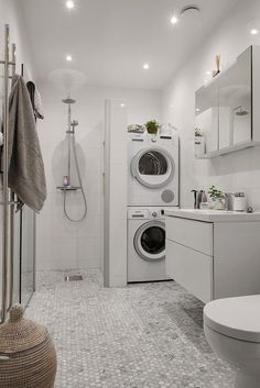 Laundry Room And Bathroom Combo Designs Small Laundry Bathroom Decor Small Laundry Bathroom Design Small Bathroom Laundry Room Combo Ideas Laundry Bathroom Combo, Basement Laundry, Small Laundry Rooms, Tiny House Bathroom, Laundry Room Design, Downstairs Bathroom, Small Bathrooms, Bathroom Storage, Small Space Bathroom